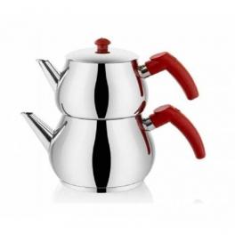 Zenlife Kırmızı Kulp Paslanmaz Çelik Çaydanlık Takımı Mini Boy